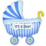 Шар (40''/102 см) Фигура, Коляска для мальчика, Голубой, 1 шт.